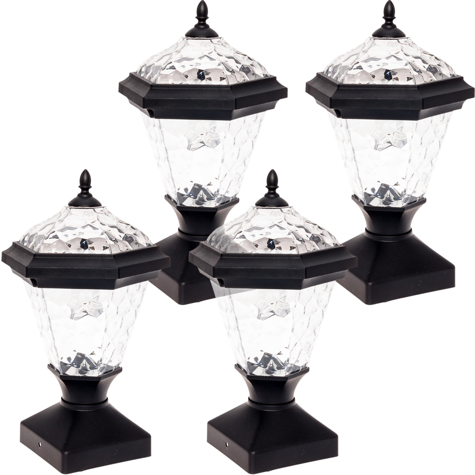 4 Pack GreenLighting White Adonia Solar Post Light for 4 x 4 Nominal Wood Posts