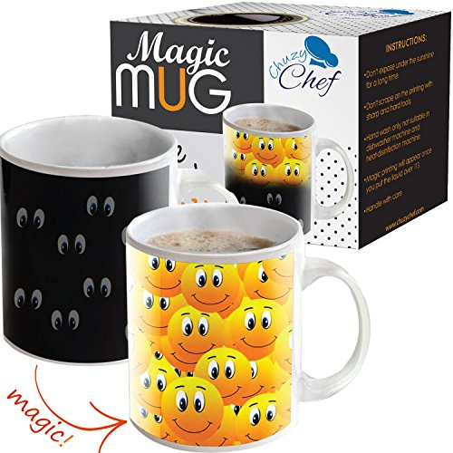 Magic Coffee Heat Sensitive Mug, Color Changing Smiley Faces Design Cup, 11 oz, By Chuzy Chef