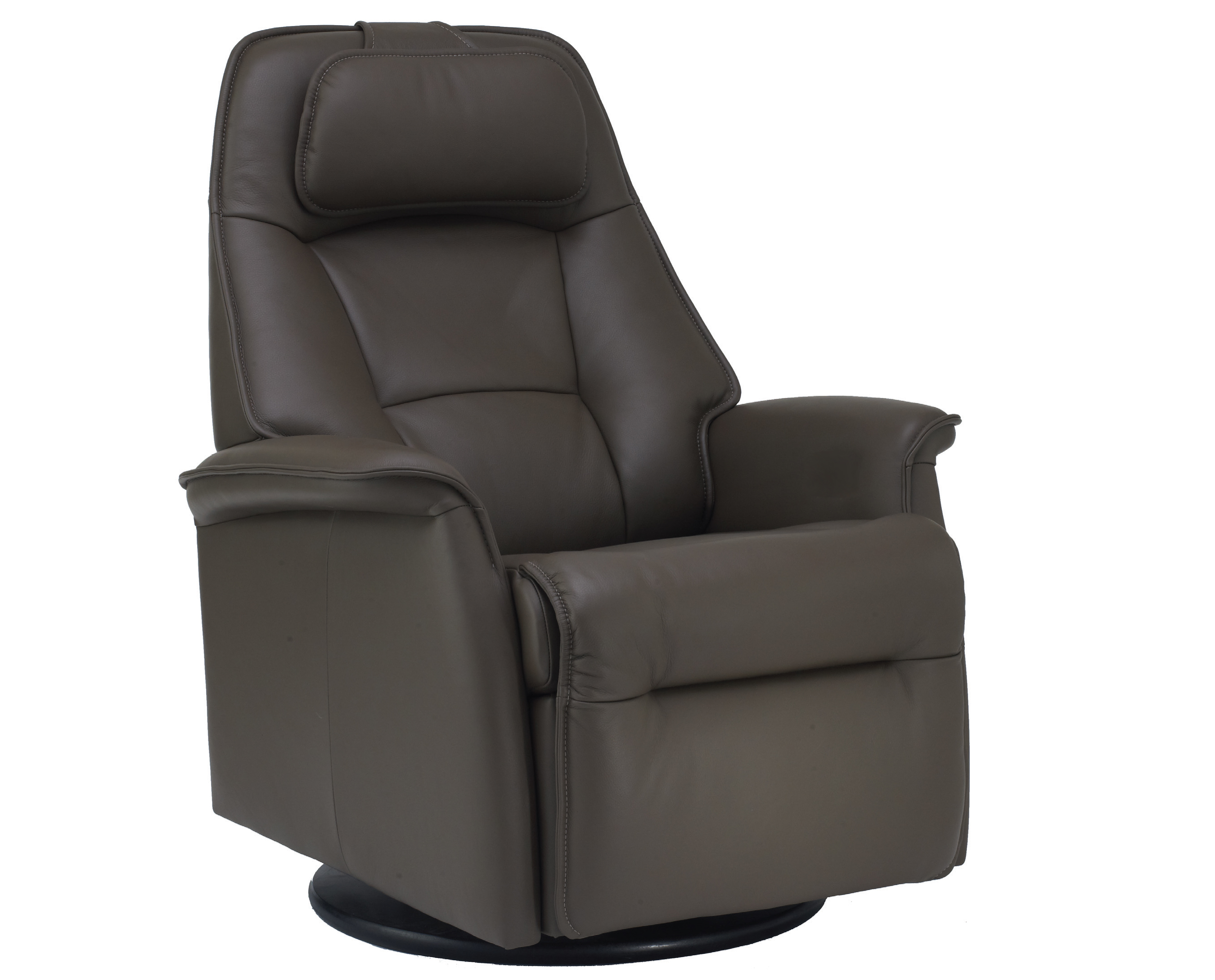 Fjords Stockholm Small Power Recline Swivel Swing Relaxer Recliner Chair In  AL535 Dark Brown Astro Line