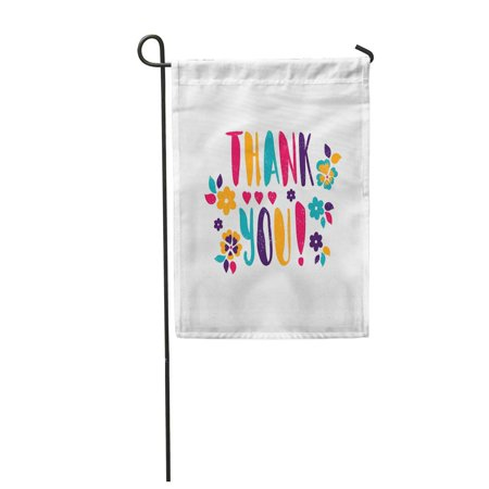LADDKE Thank You Bright Juicy Lettering Spring Flowers Hearts Garden Flag Decorative Flag House Banner 12x18 (Juicy Heart)