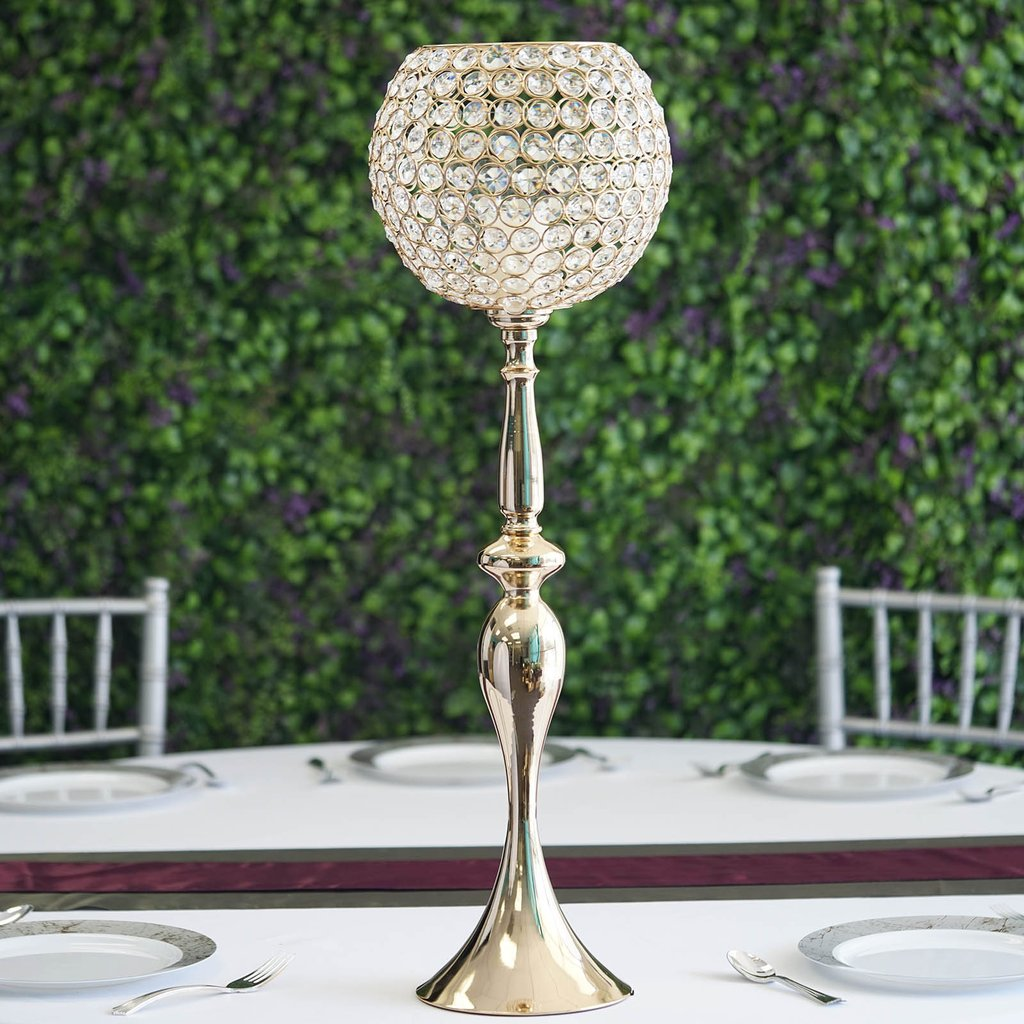"""Efavormart 30"""" Gold Acrylic Crystal Goblet Candle Holder Flower Ball Centerpiece For Wedding Events Decoration"""