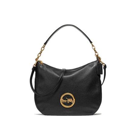 NEW WOMEN'S COACH (F31400) BLACK PEBBLED LEATHER ELLE HOBO SHOULDER BAG