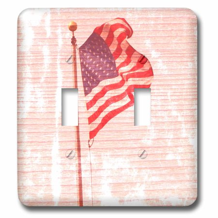 3dRose American Flag Wood Design Patriotic 4th of July Americana - Double Toggle Switch (lsp_29513_2)