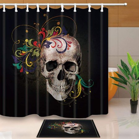 BPBOP Halloween Hand Drawn Skull with Flower Shower Curtain 66x72 inches with Floor Doormat Bath Rugs 15.7x23.6 inches](Floor 13 On 100 Floors Halloween)