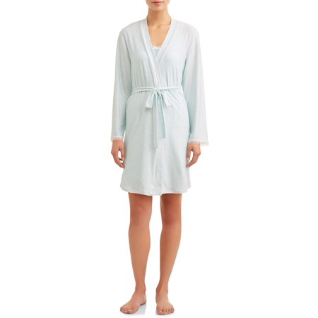 Embroidered Robe Set (2-Piece Knit Sleep Gown & Robe Set JV Apparel Women's and Women's Plus )