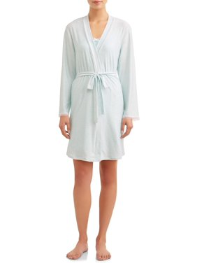 9597b9337e5b Product Image JV Apparel Women s and Women s Plus Knit 2-Piece Sleep Gown  ...