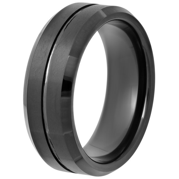 Men's Black Tungsten 8MM Comfort Fit Wedding Band - Mens Ring