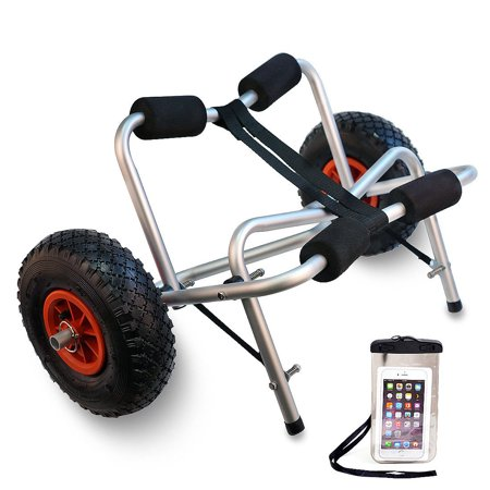 TMS Kayak Canoe Jon Boat Carrier Dolly Trailer Tote Trolley w/Free Cell Phone Bag