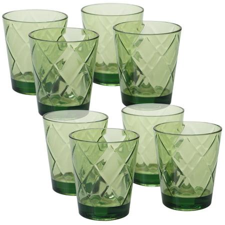 Green Set/8 Acrylic DOF Glass 15 oz. (170 Grams) Forest Green Glassware