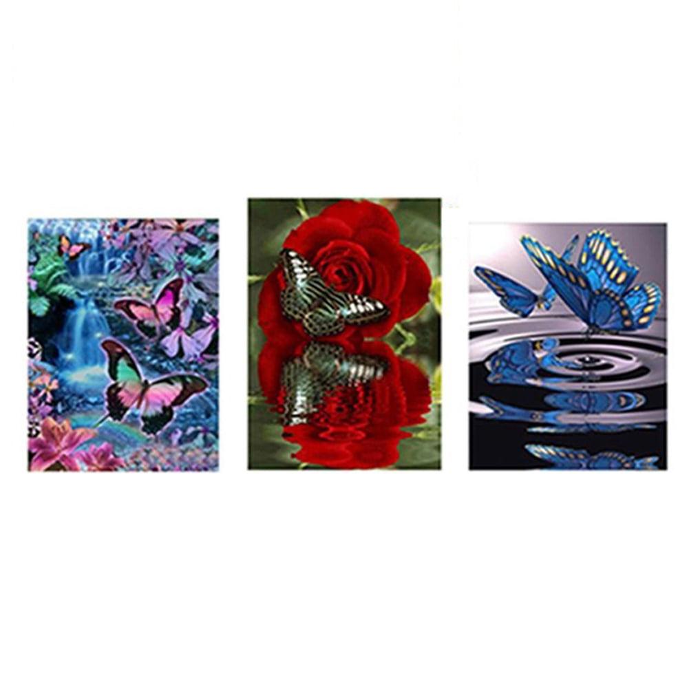Girl12Queen DIY Fancy Butterfly Resin Diamond Painting Cross Stitch Kit Wall Bedroom Decor
