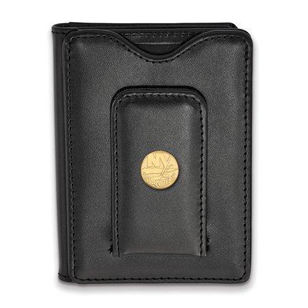 Lex & Lu LogoArt Gold Plated Sterling Silver NHL New York Islanders Black Leather Wallet