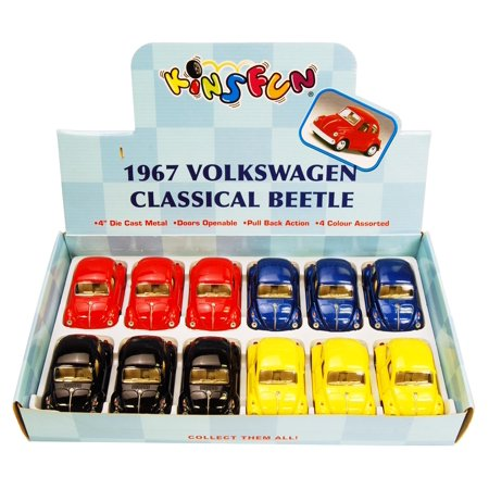 1967 Volkswagen Classic Beetle Solid Color Diecast Car Package - Box of 12 3.75 inch scale Diecast Model Cars, Assorted Colors