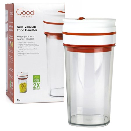 """Vacuum Seal Food Storage """"Smart"""" Canister - Electronic Auto-Vacuum Seals and Reseals Whenever Air Gets In (1L)"""