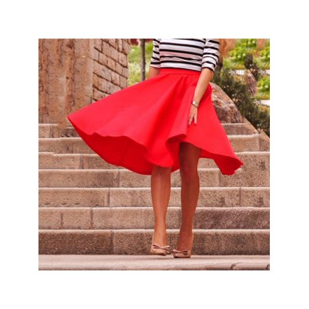 Topumt - Topumt Women Casual Flared Skater Skirt High Waist Swing Midi Dress  - Walmart.com 04b385f1f