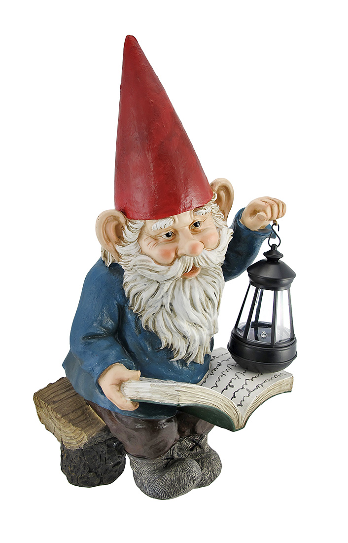 Zeckos Reading Garden Gnome W  Lantern Outdoor Statue by DWK Corporation