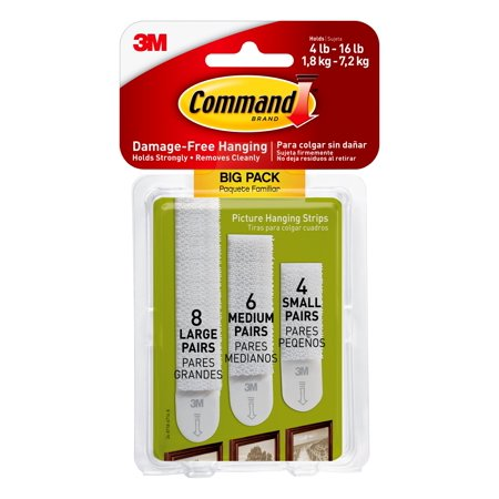 Command Assorted Picture Hanging Strips, Big Pack, 8 Sets Large, 6 Sets Medium, 4 Sets Small/Pack Elite Picture Hanger