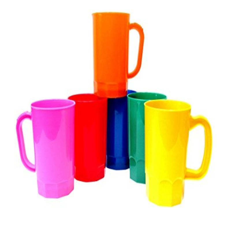 Talisman, Plastic Beer Mugs, Large 32 Ounce, Pack 6, Color Multi