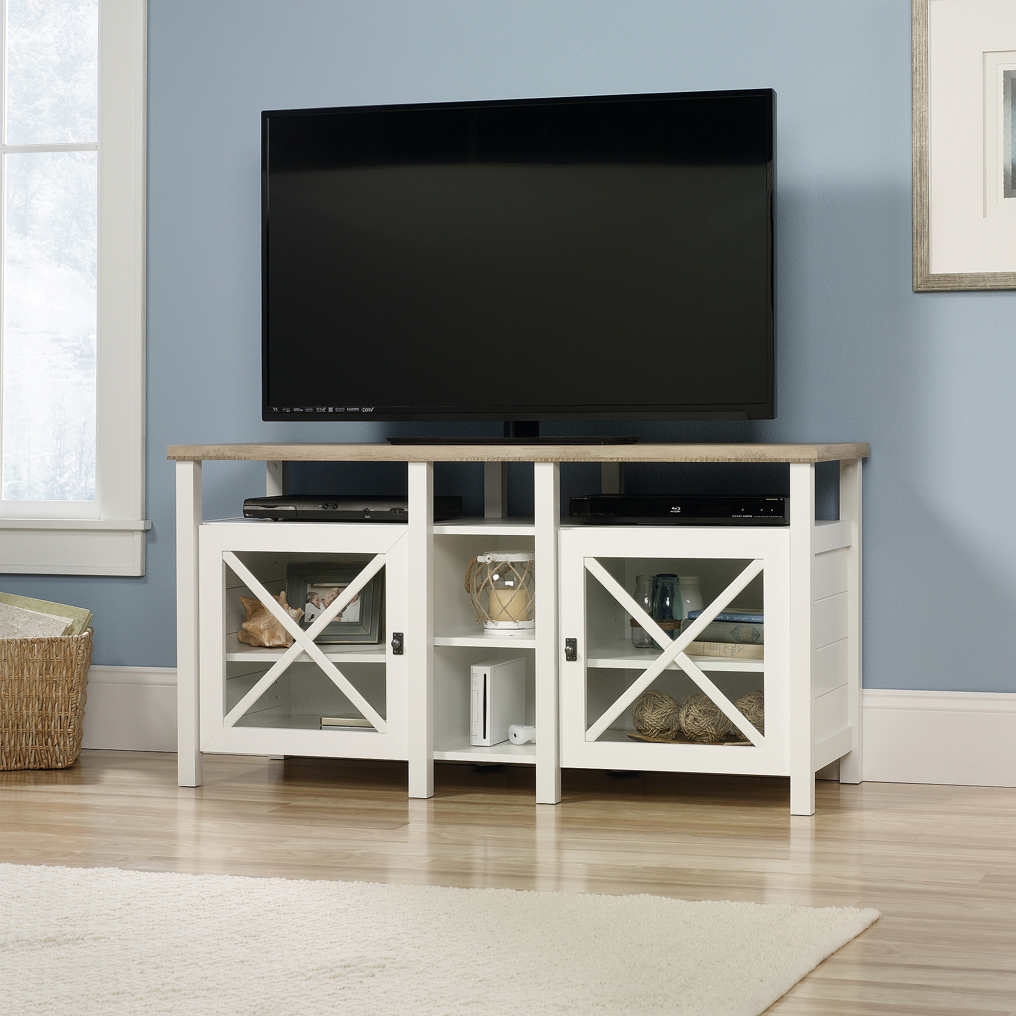 "Sauder Cottage Road TV Stand for TVs up to 50"", Soft White"