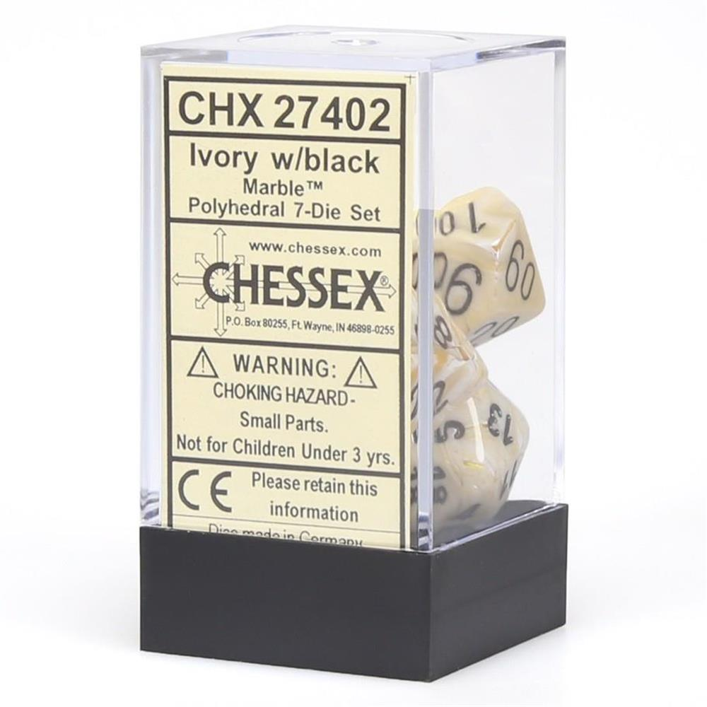 Polyhedral Dice Marble Ivory w/Black 7ct High Quality Chessex Manufacturing CHX27402