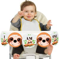 Let's Hang 1st Birthday - Sloth - I Am One - First Birthday High Chair Banner
