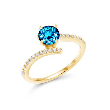 18K Yellow Gold Plated Silver Solitaire w/ Accent Stones Ring Set with Kashmir Blue Topaz from -