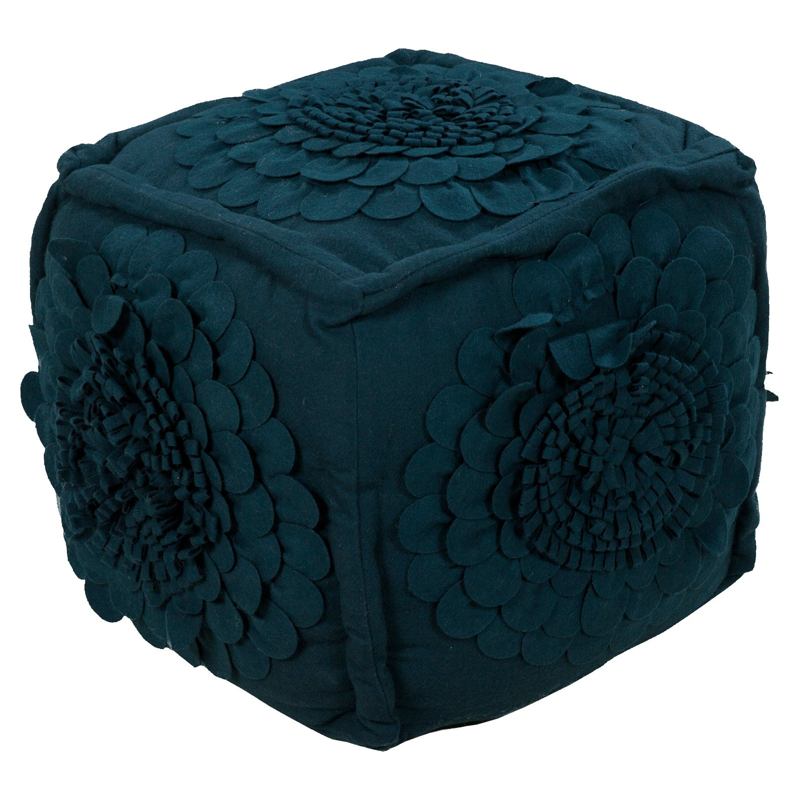 Surya 18 in. Cube Wool Pouf Ink by Surya Rugs