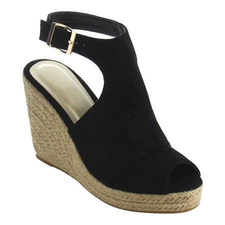 Beston Ie01 Womens Buckle Ankle Strap Backless Espadrille Wedge Sandal