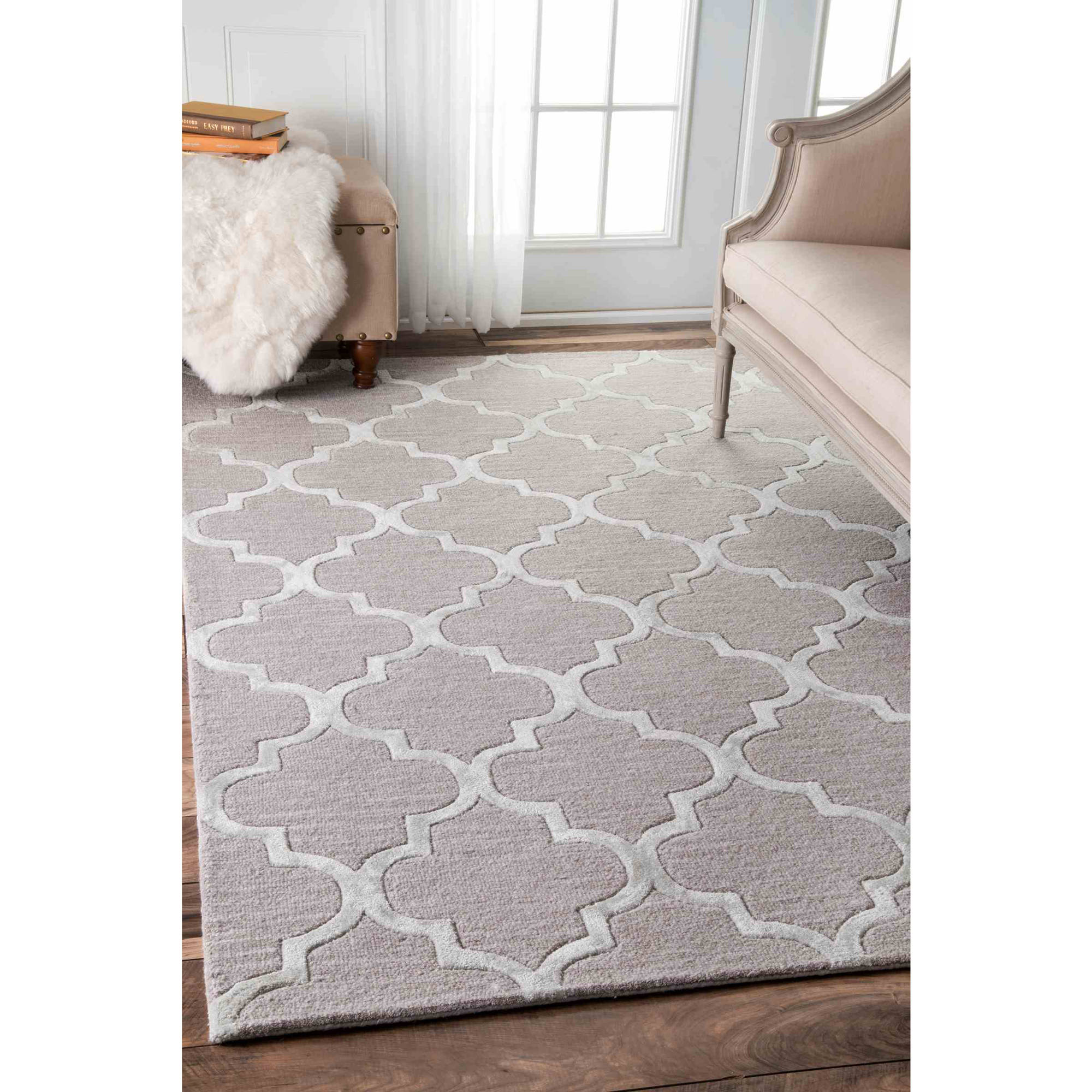 nuloom hand tufted park avenue trellis area rug or runner