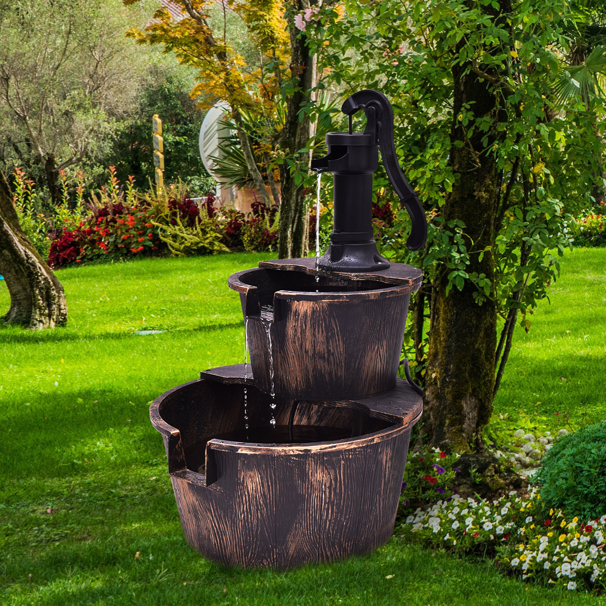 Gymax 2 Tier Barrel Waterfall Fountain Barrel Water Fountain Pump Outdoor Garden by Gymax