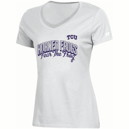 Tcu Horned Frogs Baseball - Women's Russell Athletic White TCU Horned Frogs Arch V-Neck T-Shirt
