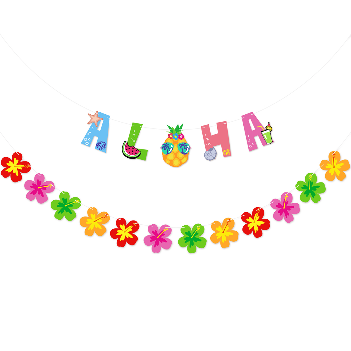 UNOMOR Summer ALOHA Banners Flowers Bunting Garland Backdrop Prop Decoration for Summer Luau Tropical Hawaiian Birthday Party Supplies