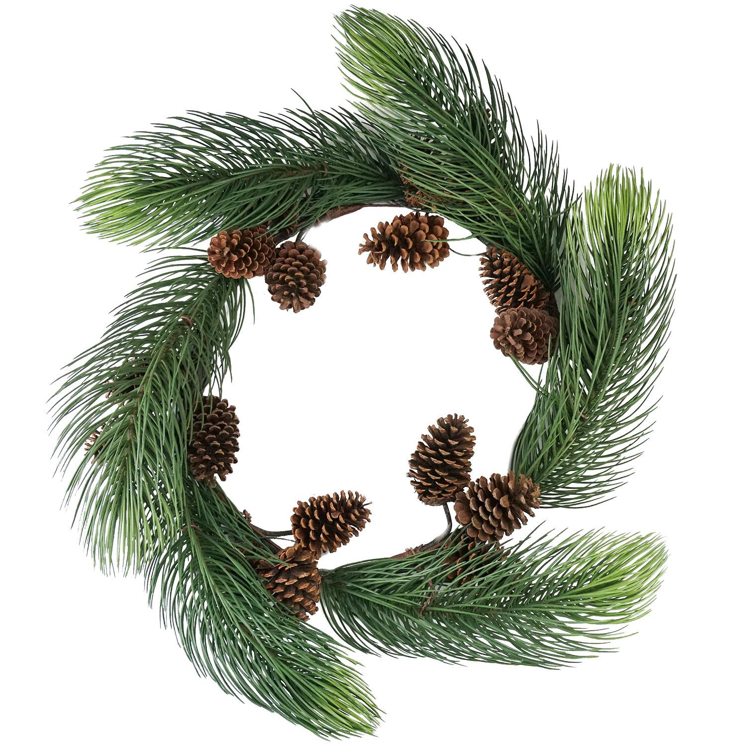 """Allstate 30"""" Unlit Long Pine Needle with Pine Cones Artificial Christmas Wreath"""