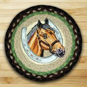 Earth Rugs 80-383HP Round Miniature Swatch, Horse Portrait, printed