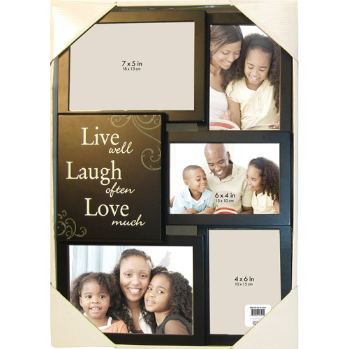 "5-Opening ""Live Laugh Love"" Collage Picture Frame, Black"