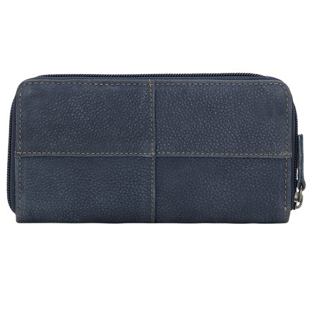THE RILEY ZIP AROUND LINED LEATHER WALLET DENIM BLUE TRUELU