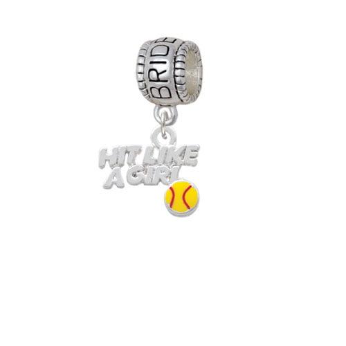 Hit Like a Girl with Enamel Softball - Bridesmaid Charm Bead