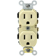 Leviton  M25-0BR15-IMP 15 Amp 125 Volt Ivory Narrow Body Duplex Outlet Receptacle