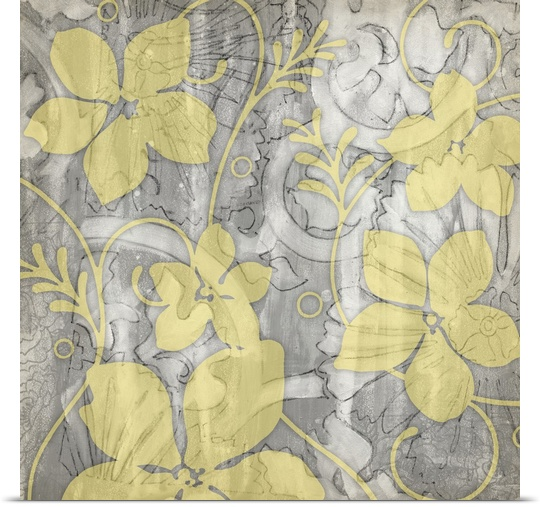 Great BIG Canvas   Rolled Jennifer Goldberger Poster Print entitled Yellow and Gray II