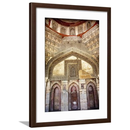 Decorations Inside Ancient Sheesh Shish Gumbad Tomb Lodi Gardens, New Delhi, India Framed Print Wall Art By William Perry ()