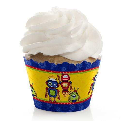 Robots - Birthday Party Cupcake Wrappers - Set of 12