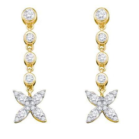 10K Yellow Gold 0.77ctw Fancy Sparkling Bezel Set Diamond Flower Fashion Earring ()