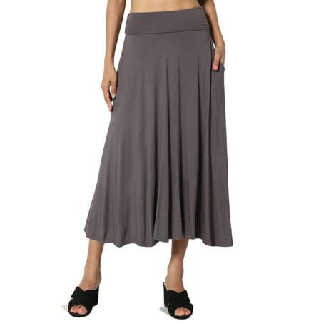 TheMogan Women's S~XL Fold Over Low to High Waist Pocket A-Line Mid Calf Long Skirt