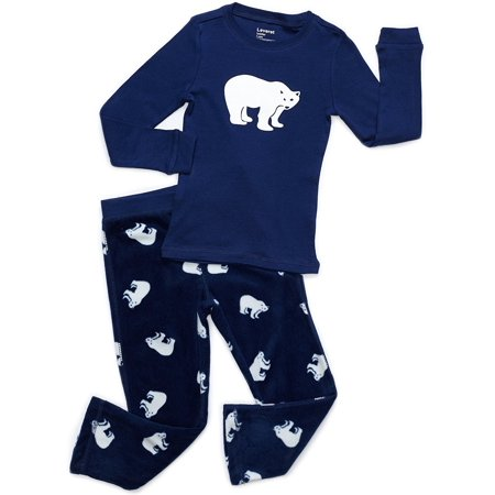Leveret Fleece & Cotton 2 Piece Pajama Set Polar Bear 2 Years