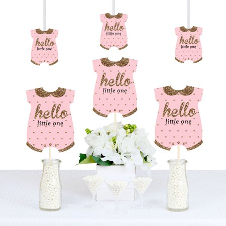 Baby Shower Party Decoration (Hello Little One - Pink and Gold - Baby Bodysuit Girl Baby Shower Decorations DIY Party Essentials - Set of)