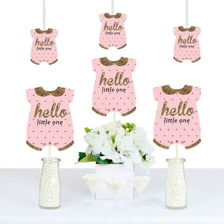 Hello Little One - Pink and Gold - Baby Bodysuit Girl Baby Shower Decorations DIY Party Essentials - Set of 20 (Baby Girl Shower Themes)