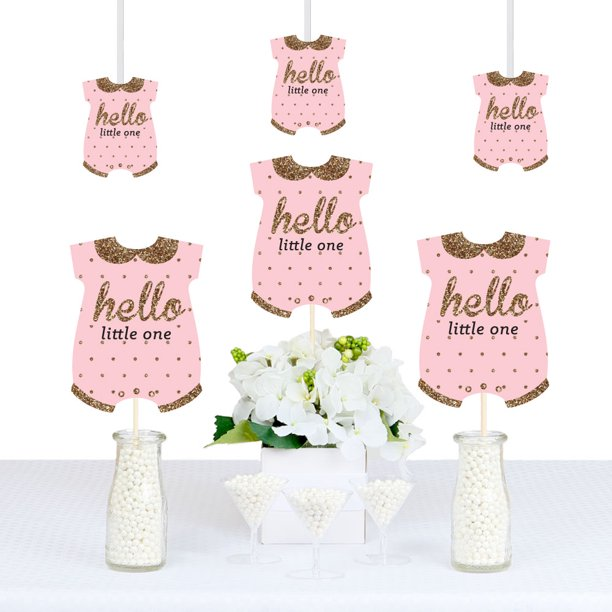 Hello Little One Pink And Gold Baby Bodysuit Girl Baby Shower Decorations Diy Party Essentials Set Of 20 Walmart Com Walmart Com