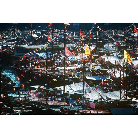 New Years Decorations, Sampans, Aberdeen, Hong Kong, China Print Wall Art](Halloween Decorations Hong Kong)