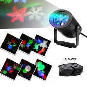 Christmas Projection Lights Rotating Multicolor Slide Indoor Lighting Gobo Spotlight Lawn Lights for Garden Path Courtyard Wedding Party Halloween Easter Holiday