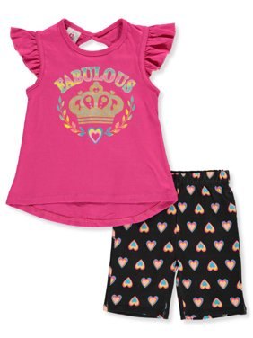 Real Love Girls' Fabulous Crown 2-Piece Bike Shorts Set Outfit (Little Girls)