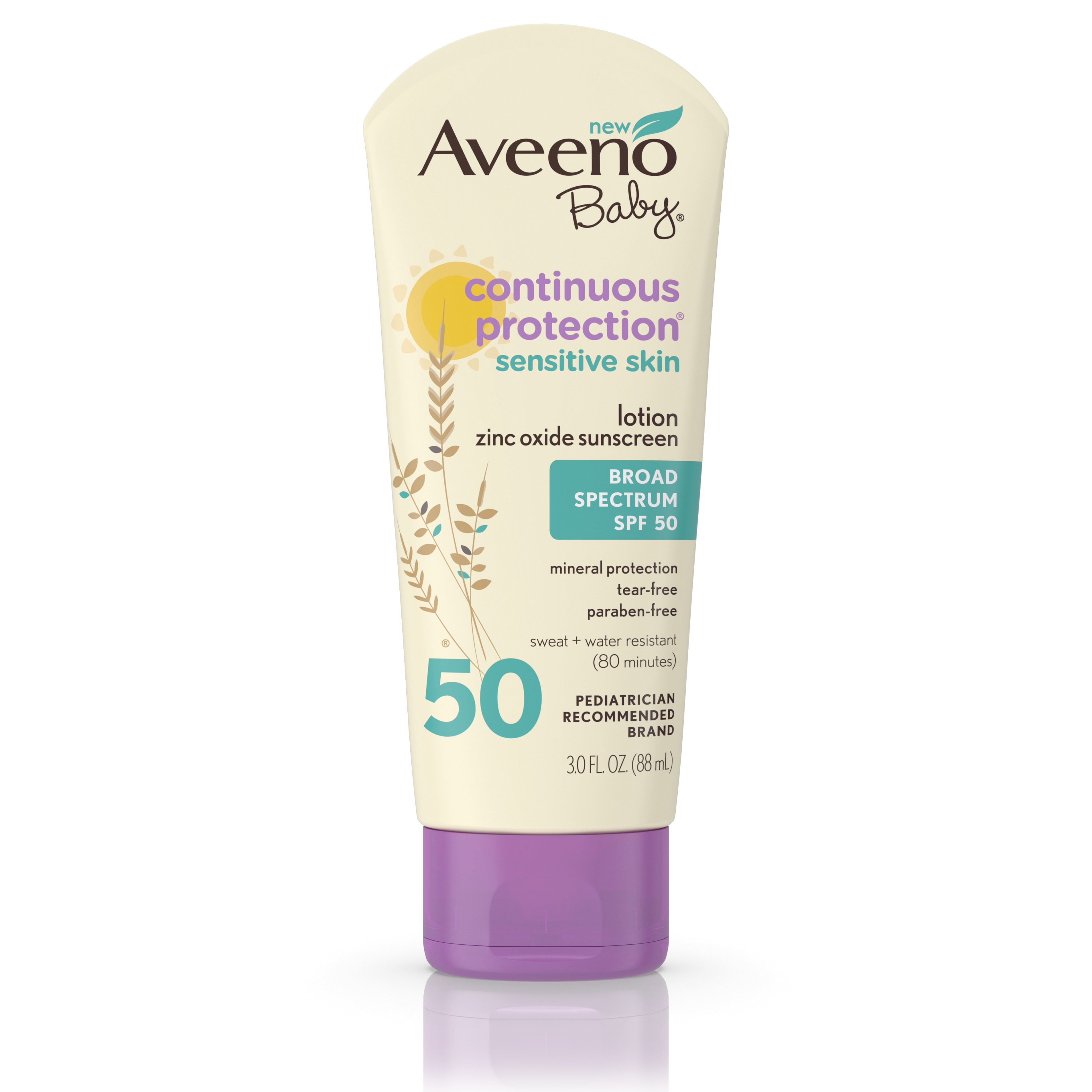 Aveeno Baby Continuous Protection Lotion Sunscreen With Broad Spectrum Spf 50, Sweat And Water Resistant, 3 Oz.<br> - Walmart.com